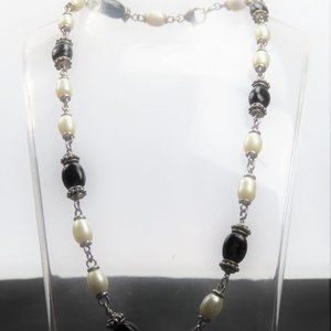 Stamped Sterling Black Onyx and Pearl Necklace